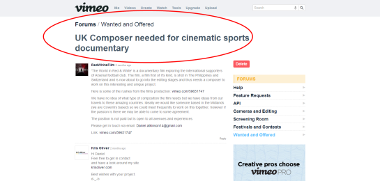 UK Composer needed for cinematic sports documentary on Vimeo
